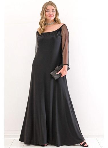 Angelino Butik Büyük Beden Kol Şifon Omzu Açık Abiye Elbise PNR6189  Siyah